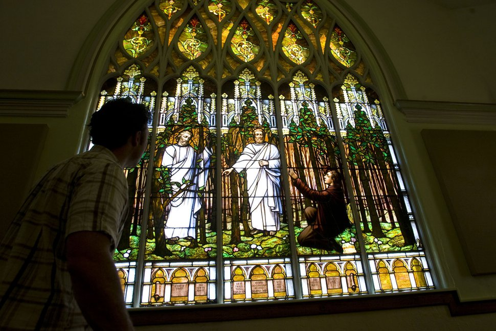 (Al Hartmann | Tribune file photo) The Salt Lake Second Ward at 704 S. 500 East features this stained-glass window of Joseph Smith's