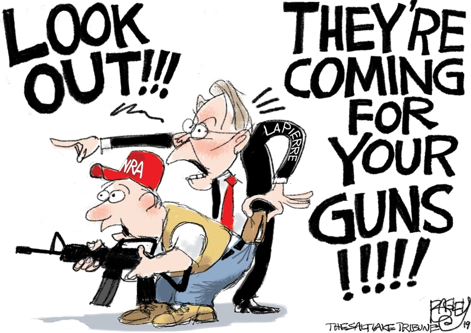 "(Pat Bagley | The Salt Lake Tribune) This cartoon, titled ""I Scam the NRA,"" appears in the Salt Lake Tribune on Thursday, May 23, 2019."