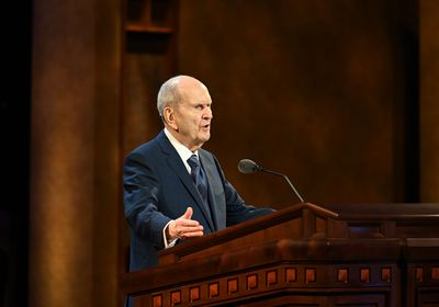 (Photo courtesy of The Church of Jesus Christ of Latter-day Saints) President Russell M. Nelson speaks at General Conference on Easter morning, Sunday, April 4, 2021.
