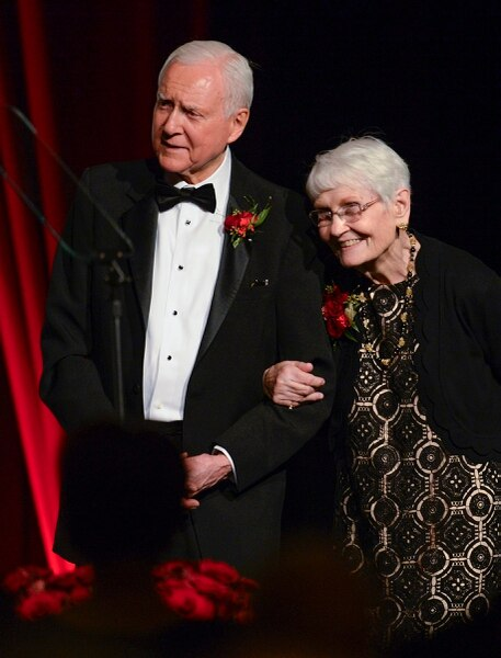 Leah Hogsten | The Salt Lake Tribune The Salt Lake Chamber awarded Senator Orrin G. Hatch, with his wife Elaine by his side, as the 39th Giant in Our City, in honor of his exceptional and distinguished service and extraordinary professional achievement, Saturday, June 9, 2018 at Grand America Hotel.
