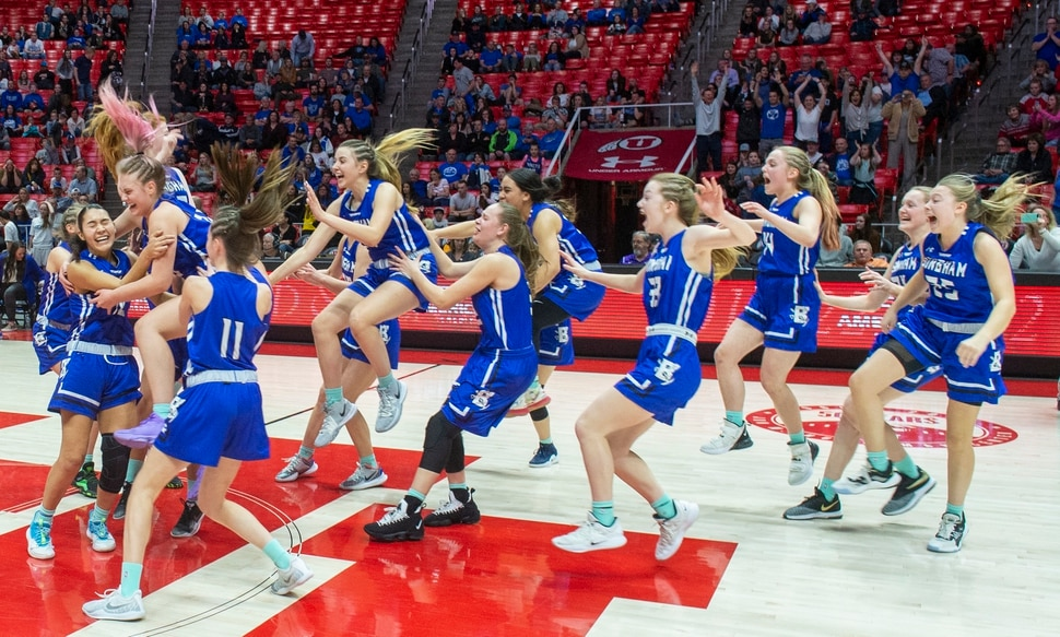(Rick Egan | The Salt Lake Tribune) The Bingham Miners celebrate their 59-51 win over the Fremont Silverwolves, in the 6A championship game, at the Jon M. Huntsman Center, Saturday Feb. 29, 2020