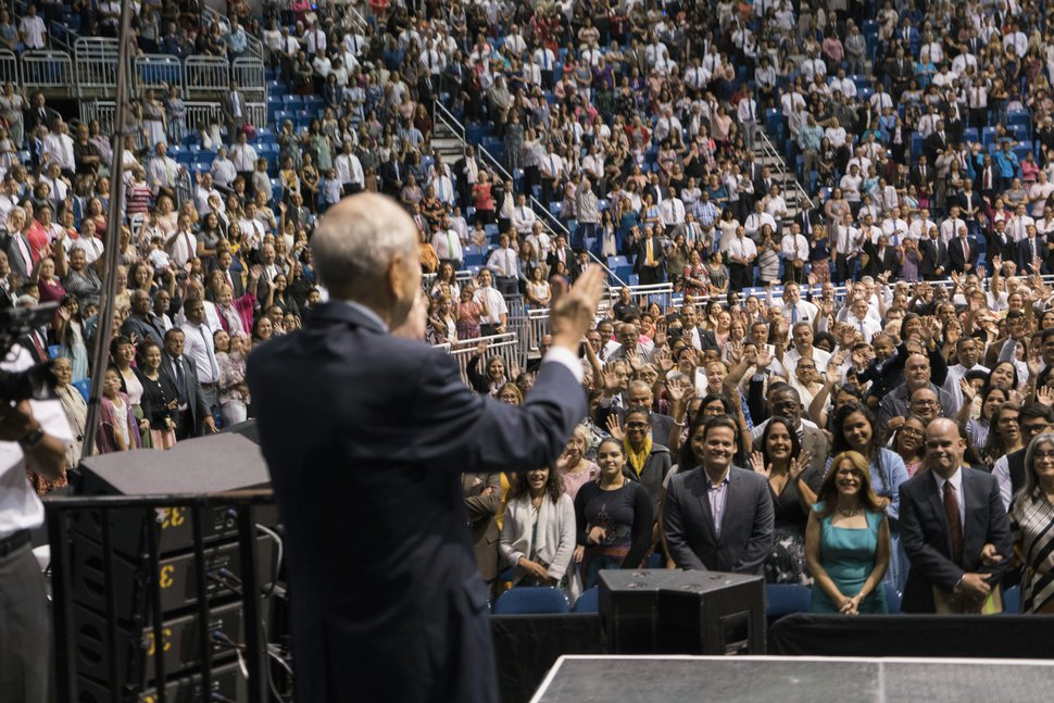 (Photo courtesy of The Church of Jesus Christ of Latter-day Saints) The Church of Jesus Christ of Latter-day Saints President Russell M. Nelson speaks to members at a devotional held at the Coliseo de Puerto Rico José Miguel Agrelot in San Juan on Sunday, Sept. 2, 2018.
