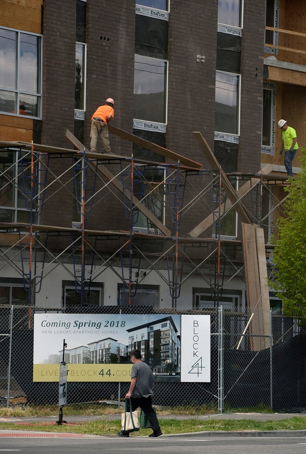 (Al Hartmann | The Salt Lake Tribune) An apartment building under construction at 400 S. 400 East in Salt Lake City on Tuesday May 1, 2018.