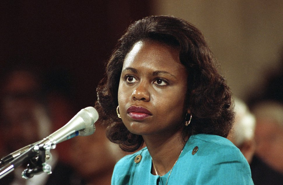 Anita Hill, University of Oklahoma Law Professor, who testified, that she was sexually harassed by Clarence Thomas. 1991 photo. (AP Photo)