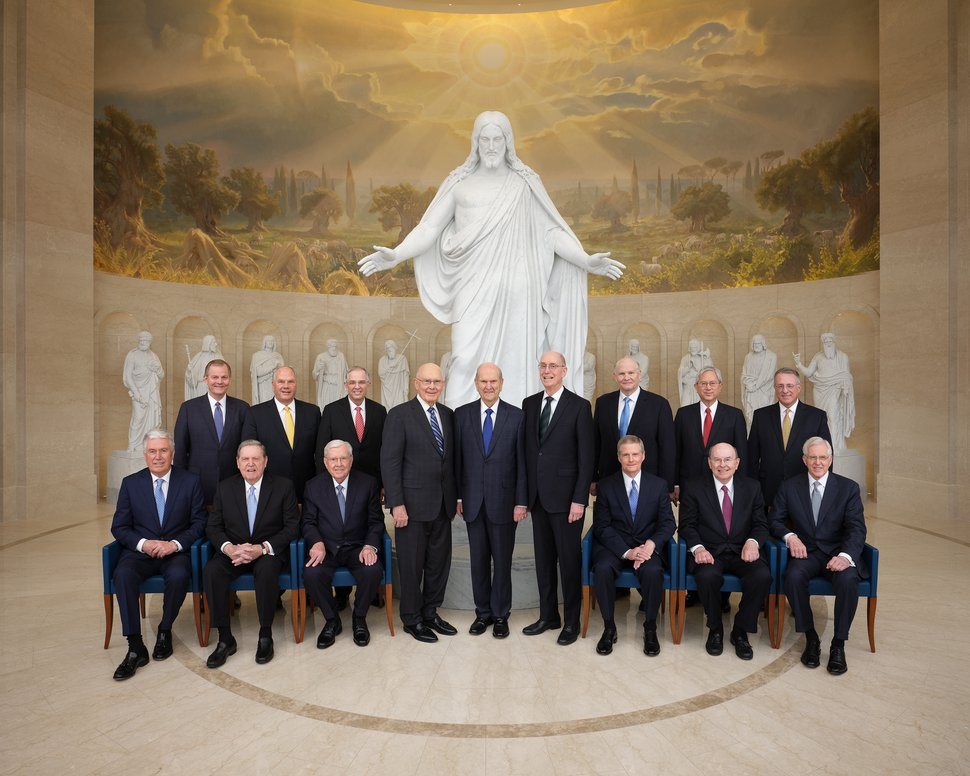 (Photo courtesy of The Church of Jesus Christ of Latter-day Saints) The First Presidency and Quorum of the Twelve Apostles in the Rome Italy Temple Visitors' Center.