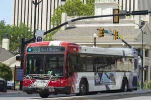 (Rick Egan  |  Tribune file photo)  A UTA bus in Downtown Salt Lake City, Aug. 6, 2019.