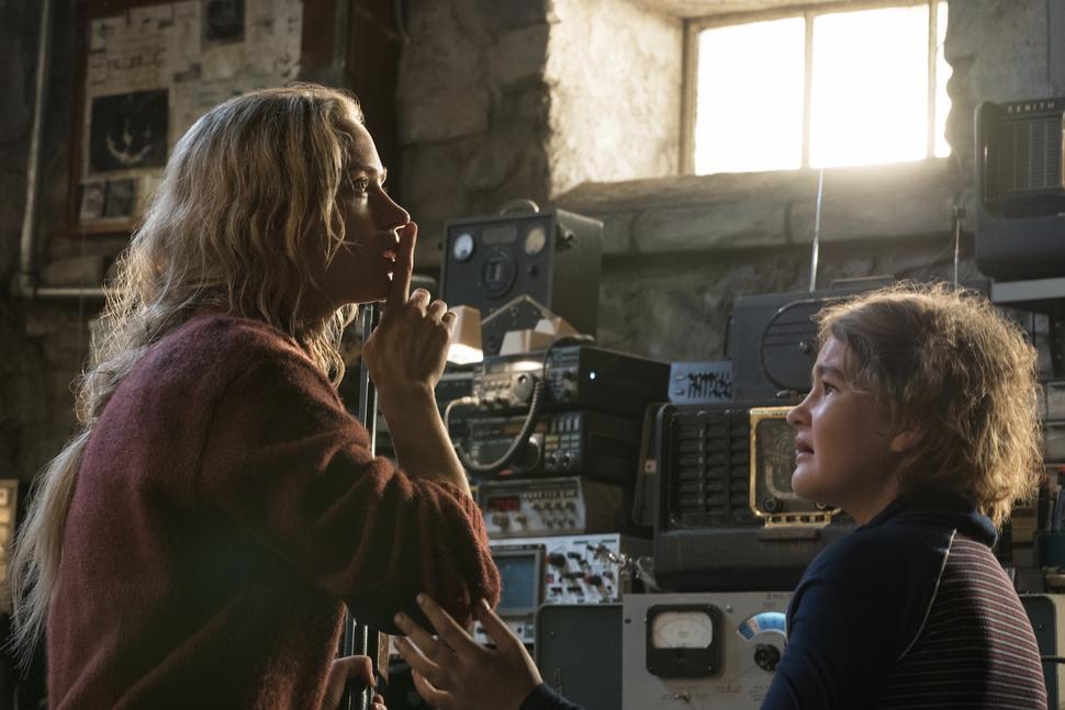 This image released by Paramount Pictures shows Emily Blunt playing Evelyn Abbott and Millicent Simmonds playing Regan Abbott on the set of A Quiet Place. (Jonny Cournoyer/Paramount Pictures via AP)