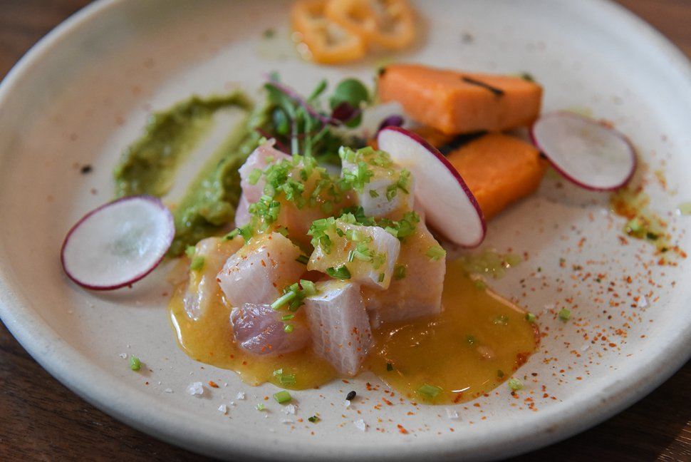 (Francisco Kjolseth | The Salt Lake Tribune) Hamachi Ceviche at the Post Office Place, a new bar by the same owners as Takashi next door, on Tuesday, June 19, 2018. One of the main reasons Takashi and Tamara Gibo opened this downtown watering hole is so patrons could have a drink while waiting for a seat at Takashi, where the wait can sometimes be an hour long and liquor laws don't allow cocktails unless you are seated.