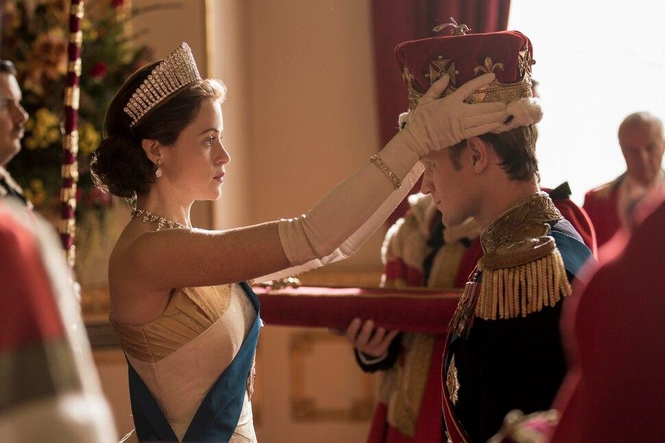"(Photo courtesy of Robert Viglasky/Netflix) Queen Elizabeth II (Claire Foy) formally makes Philip (Matt Smith) a British prince in Season 2 of ""The Crown."""