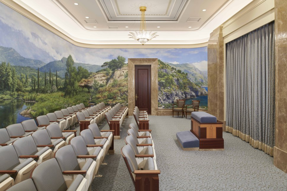 (Photo courtesy of The Church of Jesus Christ of Latter-day Saints) An instruction room in the Rome Italy Temple.