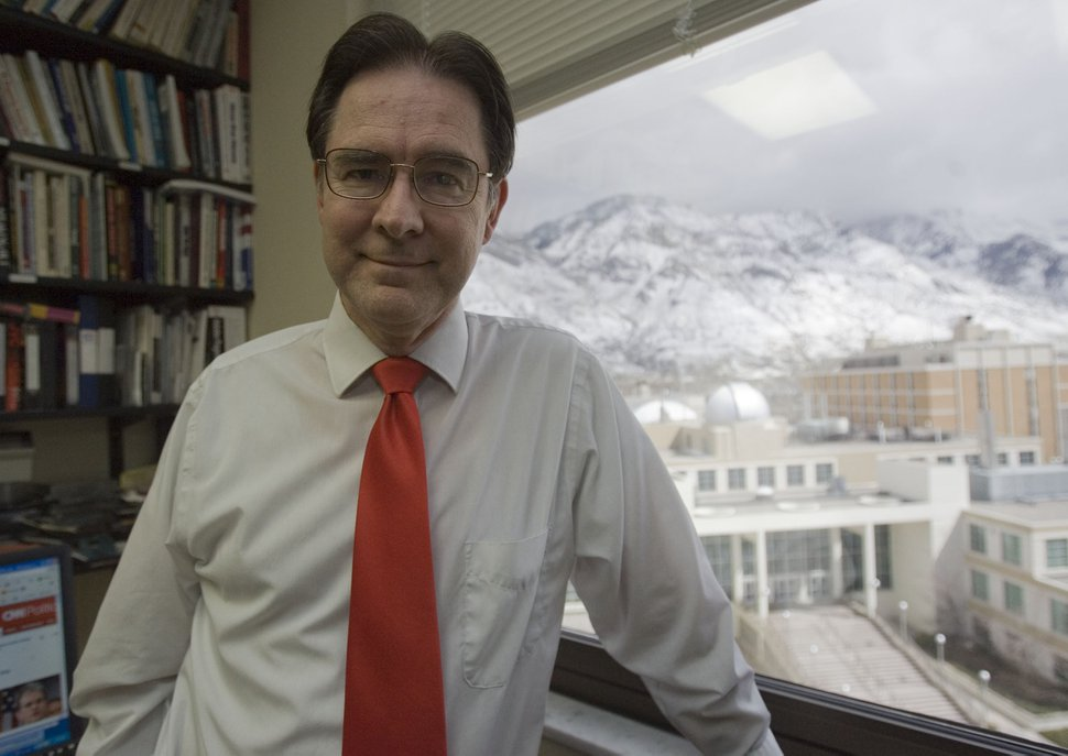 Jim Urquhart | The Salt Lake Tribune Richard Davis, who is the political science professor at Brigham Young University and chair of the United Utah Party, April 6, 2010, at his office at BYU in Provo.