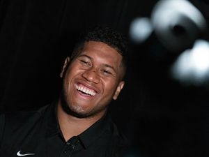 (Francisco Kjolseth | The Salt Lake Tribune) Defensive lineman Uriah Leiataua joins BYU football coaches, players and staff participating in BYU football media day in the BYU Broadcasting Building in Provo on Thursday, June 17, 2021.