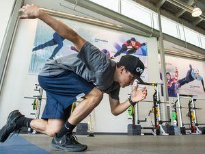 (Rick Egan     The Salt Lake Tribune)     Short track skater Ben Thornock has started training again at the Utah Olympic Oval, Friday, May 22, 2020.