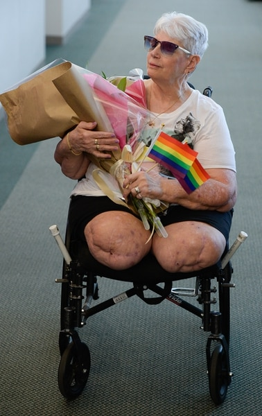 (Francisco Kjolseth | The Salt Lake Tribune) Bonnie Foerster, 74, of South Salt Lake finally gets her wish of marrying her common-law partner of 50 years, Beverly Grossaint, even though she died on May 27 of this year. Foerster, who is legally blind and a double amputee shed tears of joy on Tuesday, Aug. 21, 2018, exclaiming I can finally start healing, after a judge provided the legal recognition and allowed her to be legally married.