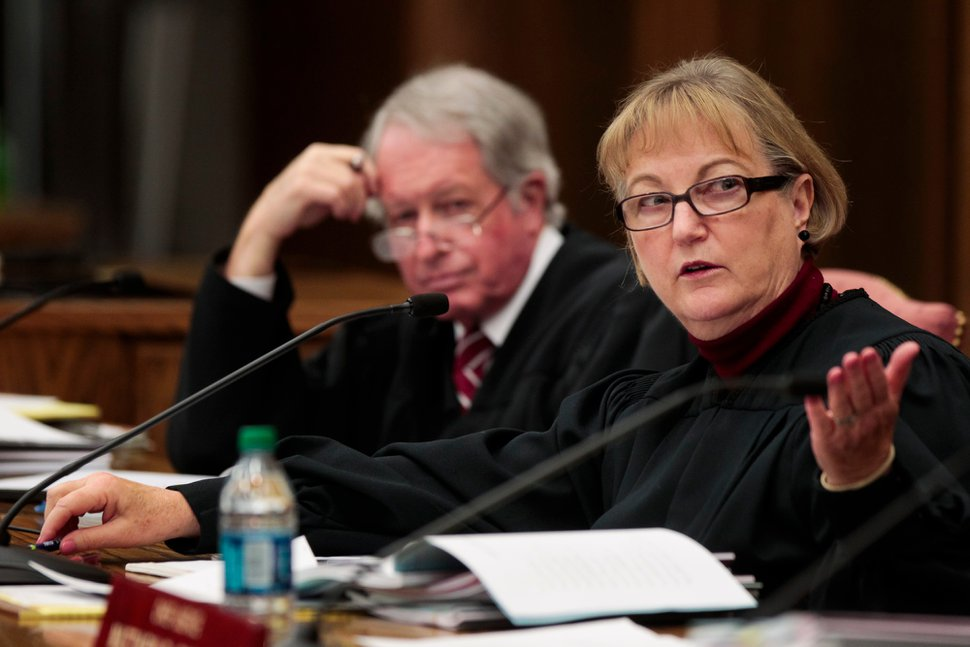 Spencer Heaps | Pool Justice Christine M. Durham questions an attorney during oral argument in the Utah Supreme Court case Scott v. Universal Industrial Sales, Inc., et al., at Brigham Young University in Provo on Thursday, Nov. 6, 2014. The court heard two cases in the Moot Court room of the University's law school.