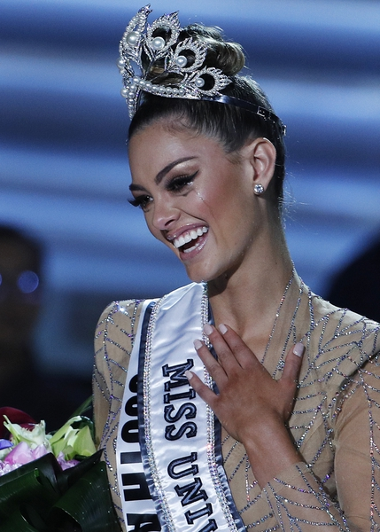(John Locher | The Associated Press) Miss South Africa Demi-Leigh Nel-Peters cries after she was announced as the new Miss Universe at the Miss Universe pageant Sunday, Nov. 26, 2017, in Las Vegas.