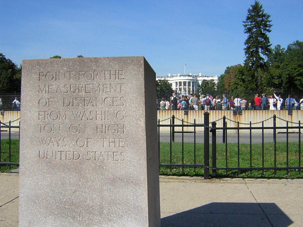 (Matt Sheehan | The Washington Post) The Zero Milestone on the north side of the Ellipse in Washington, D.C.