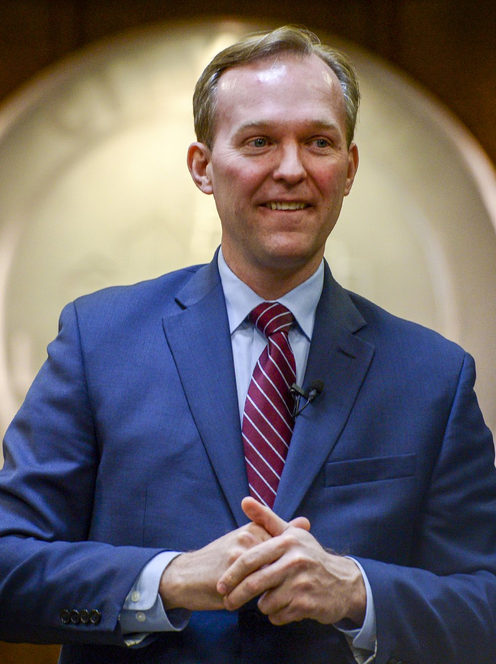 Leah Hogsten | The Salt Lake Tribune Congressman Ben McAdams met with his constituents in Utah County during his second town hall at Lehi City Council chambers, Feb. 19, 2019.