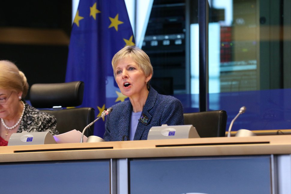 "(Courtesy LDS Church) Jean B. Bingham, the new general president of the Relief Society of The Church of Jesus Christ of Latter-day Saints, spoke at the European Parliament in Brussels, Belgium, Thursday, November 9, 2017, at the ""Women in Faith: A Freedom of religion or belief perspective"" conference."