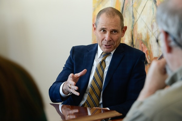 (Francisco Kjolseth | The Salt Lake Tribune) Provo Mayor John Curtis speaks to the Salt Lake Tribune education board on Tuesday, Oct. 10, 2017.