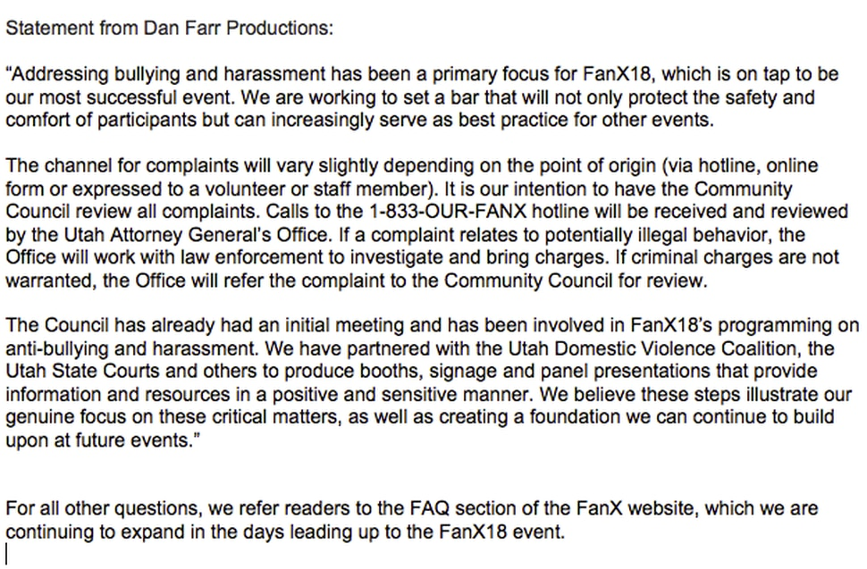 (courtesy Dan Farr Productions) A statement from Dan Farr Productions, the company that operates FanX Salt Lake Comic Convention, in response to questions about the event's anti-harassment policies.