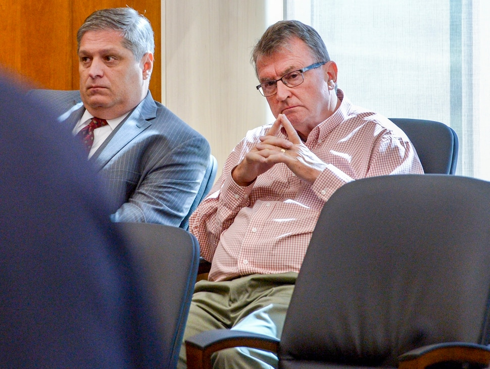 (Leah Hogsten | The Salt Lake Tribune) Sterling Van Wagenen, 71, (right) sits with his defense attorney Steven Shapiro (left) as Van Wagenen listens to statements read on behalf of the victim during his sentencing July 2, 2019. Van Wagenen was sentenced to six years to life for sexually abusing a young girl by Judge Roger W. Griffin in Fourth District Court in American Fork.