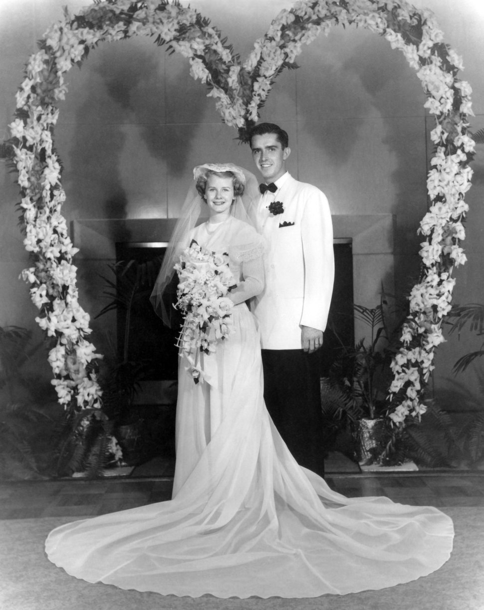 (Photo courtesy of The Church of Jesus Christ of Latter-day Saints) Wedding photo of M. Russell Ballard, acting president of the Quorum of the Twelve Apostles, and his wife, Barbara, Aug. 28, 1951.