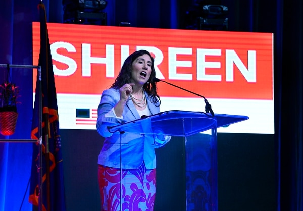 (Scott Sommerdorf | The Salt Lake Tribune) Shireen Ghorbani, a candidate in Congressional District 2, speaks at the Democratic convention, Saturday, April 28, 2018.
