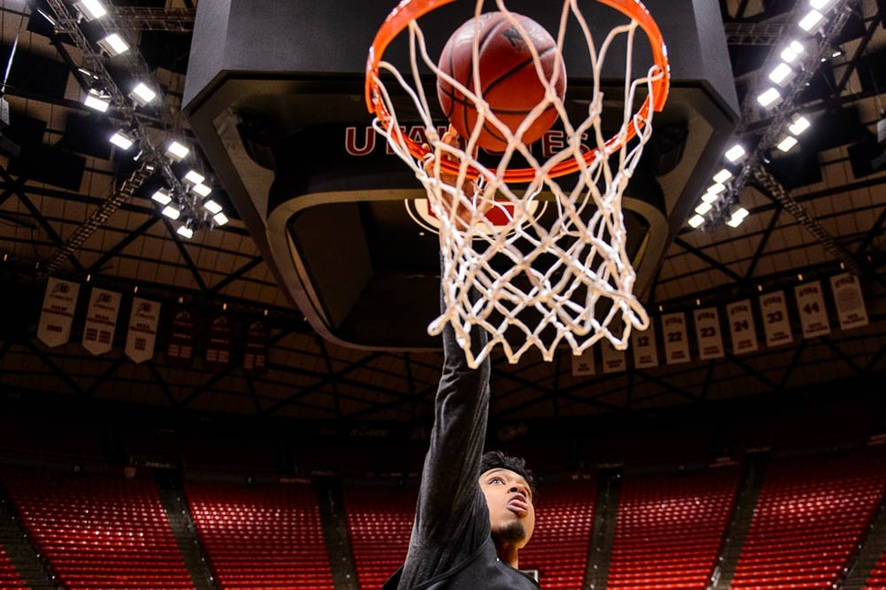 (Trent Nelson | The Salt Lake Tribune) Sedrick Barefield is among the Ute basketball seniors concluding his career at the Huntsman Center this week in Salt Lake City on Tuesday March 5, 2019.