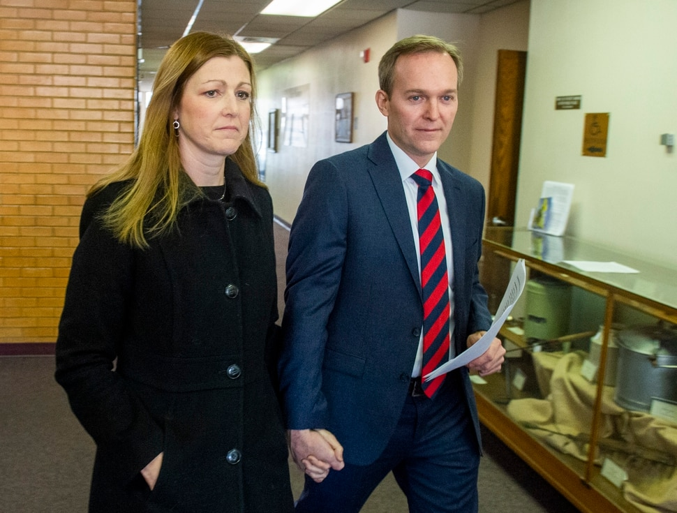 (Rick Egan | The Salt Lake Tribune) Ben McAdams leaves the Murray City Hall with his wife, Julie, after announcing that he will vote yes on the House impeachment vote, during news conference at Murray City Hall, Monday, Dec. 16, 2019.
