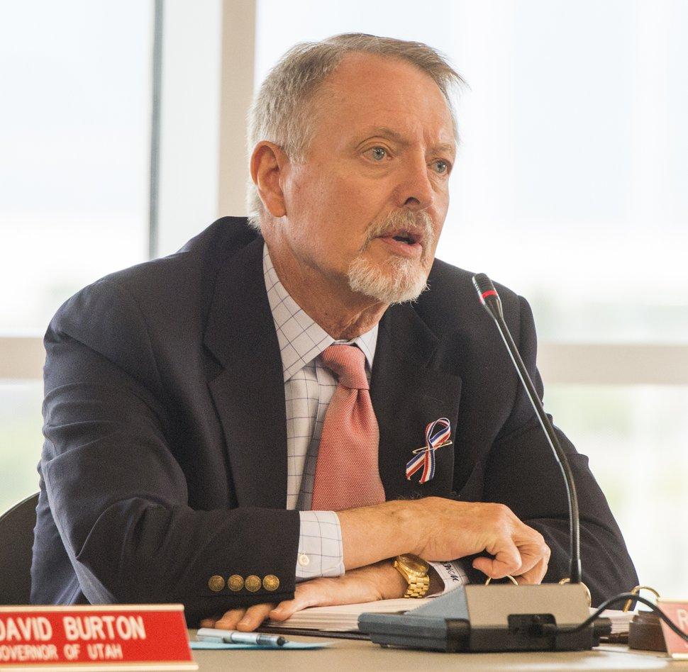 Rick Egan | The Salt Lake Tribune Robert W. McKinley makes a comment at the Utah Transit Authority Board meeting at Utah Valley University, Wednesday, May 25, 2016.