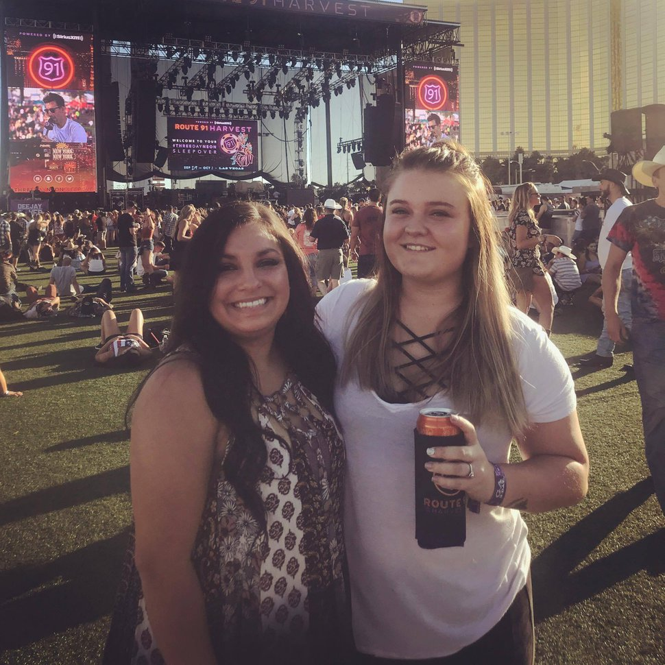 (Courtesy Jessie Wood) Jordyn Florence, left, and Jessie Wood at the Route 91 Harvest Festival, hours before a gunman opened fire on the crowd from the nearby Mandalay Bay Resort and Casino.