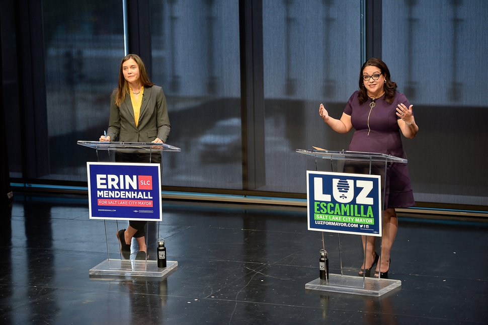 (Francisco Kjolseth | Tribune file photo) The Downtown Alliance hosts a Salt Lake City mayoral debate between Erin Mendenhall, left, and Luz Escamilla at the Regent Street Black Box at Eccles Theater, Oct. 9, 2019.