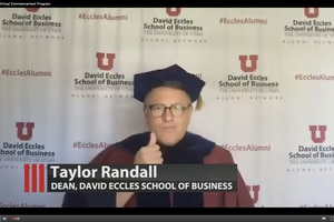 (Screengrab via the University of Utah) Taylor Randall, Dean of the Eccles School of Business at the University of Utah, appears in a prerecorded video to honor the students receiving undergraduate degrees during the U.'s virtual commencement ceremony, which took place Thursday, April 30, 2020. The event occurred entirely online due the ongoing COVID-19 pandemic.