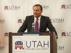 (Rick Egan | The Salt Lake Tribune) Sen. Mike Lee speaks at the Utah Association of Realtors office where GOP candidates gathered in Sandy, on Tuesday, Nov. 3, 2020.