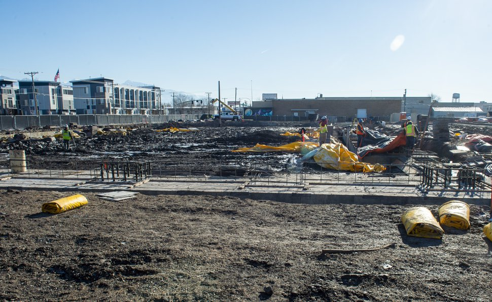 (Rick Egan | The Salt Lake Tribune) The new South City project will include a six-story office tower, 10-story apartment building, an assortment of new shops and an 800-stall parking garage on the historic Granite Mill near 2200 South and Main Street.
