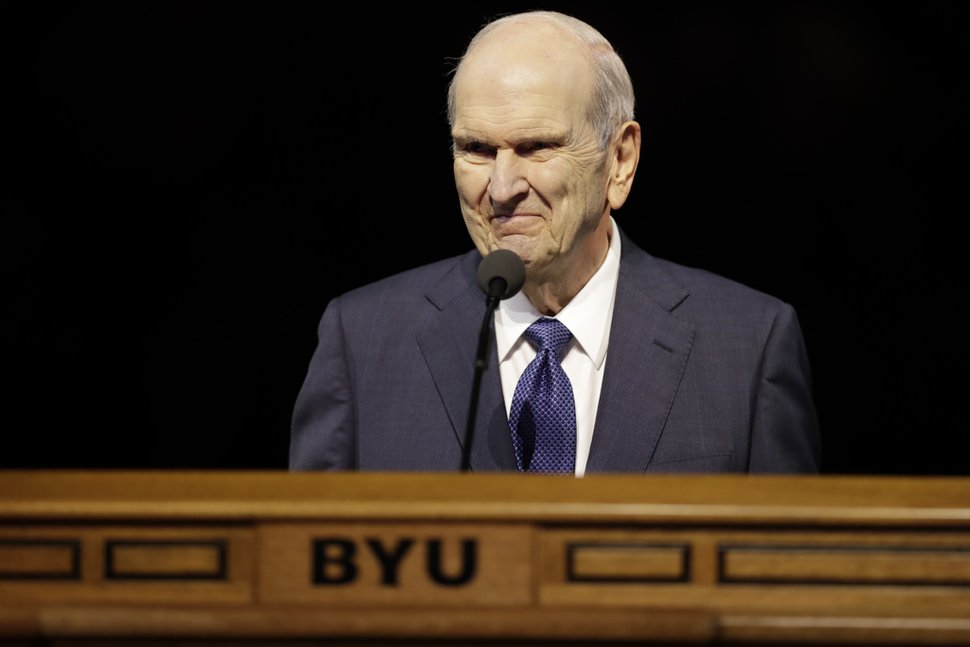 (Photo courtesy of The Church of Jesus Christ of Latter-day Saints) President Russell M. Nelson speaks to students in the Marriott Center at Brigham Young University in Provo, Utah, Sept. 17, 2019.
