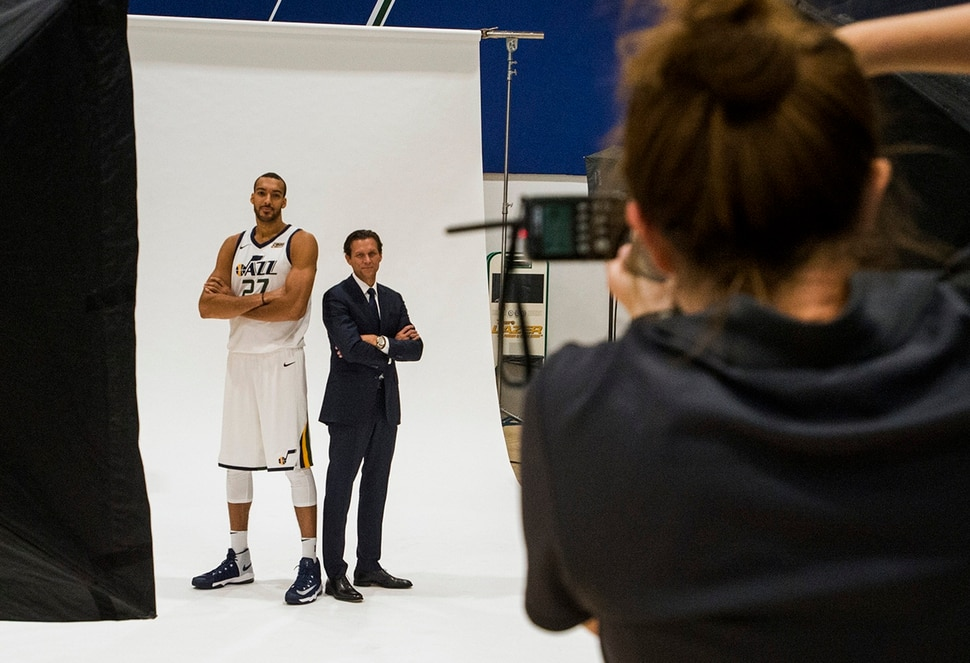 (Rick Egan | The Salt Lake Tribune) Utah Jazz center Rudy Gobert and coach Quinn Snyder pose for photographer, Melissa Majchrzak, during the Utah Jazz media day, at the Zions Bank Basketball Center, Monday, September 25, 2017.