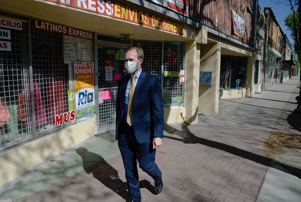 (Francisco Kjolseth | The Salt Lake Tribune) Congressman Ben McAdams, D-Utah, gets ready to hold a press conference on Midvale City's Main Street amongst shuttered businesses on Wednesday, April 29, 2020, as he calls for the Treasury Department and the Small Business Administration to release the complete list of who has received the nearly $700 billion in taxpayer-funded loans, which Congress intended for employers to keep employees on the payroll during the economic shutdown.