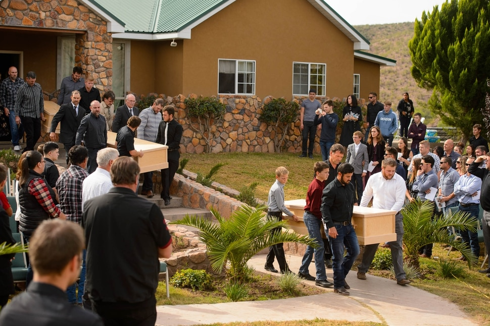 (Trent Nelson | The Salt Lake Tribune) The three caskets arrive at the funeral for Dawna Langford and two of her children, Trevor and Rogan, in La Mora, Sonora on Thursday Nov. 7, 2019. Three women and six of their children, all members of the extended LeBaron family, died when they were gunned down in an attack while traveling along Mexico's Chihuahua and Sonora state border on Monday, Nov. 4, 2019.
