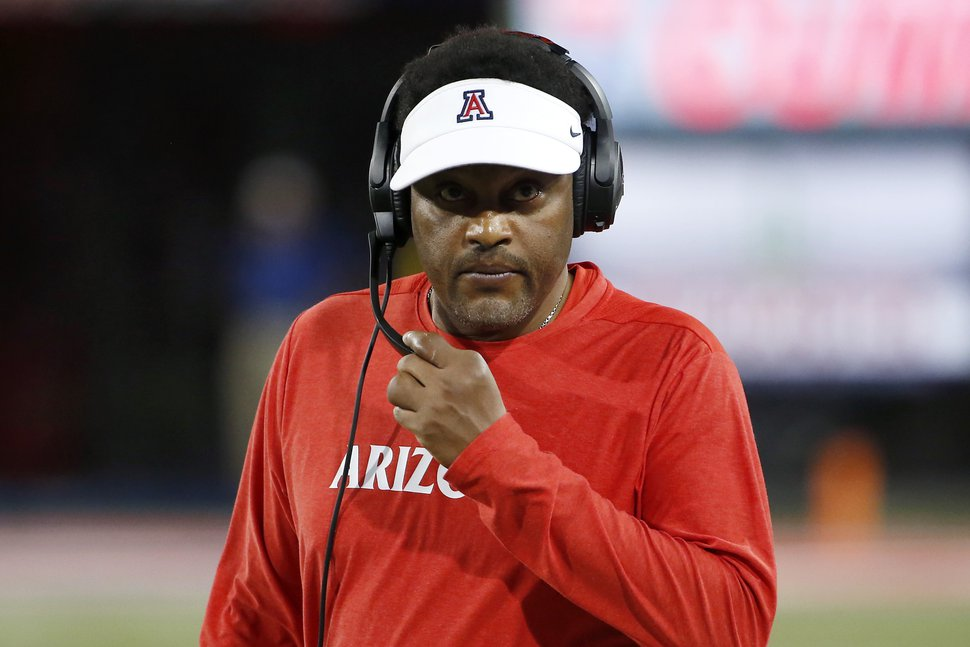Arizona head coach Kevin Sumlin is shown during the second half of an NCAA college football game against Texas Tech, Saturday, Sept. 14, 2019, in Tucson, Ariz. Sumlin could be on the hot seat this season after going 9-15 his first seasons at Arizona. (AP Photo/Ralph Freso)