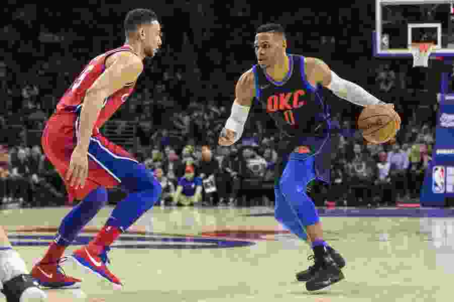 NBA roundup: Westbrook helps Thunder outlast 76ers in triple overtime