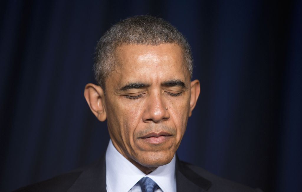 (Pablo Martinez Monsivais | AP file photo) President Barack Obama closes his eyes while a prayer is said during the National Prayer Breakfast in Washington, Thursday, Feb. 4, 2016.