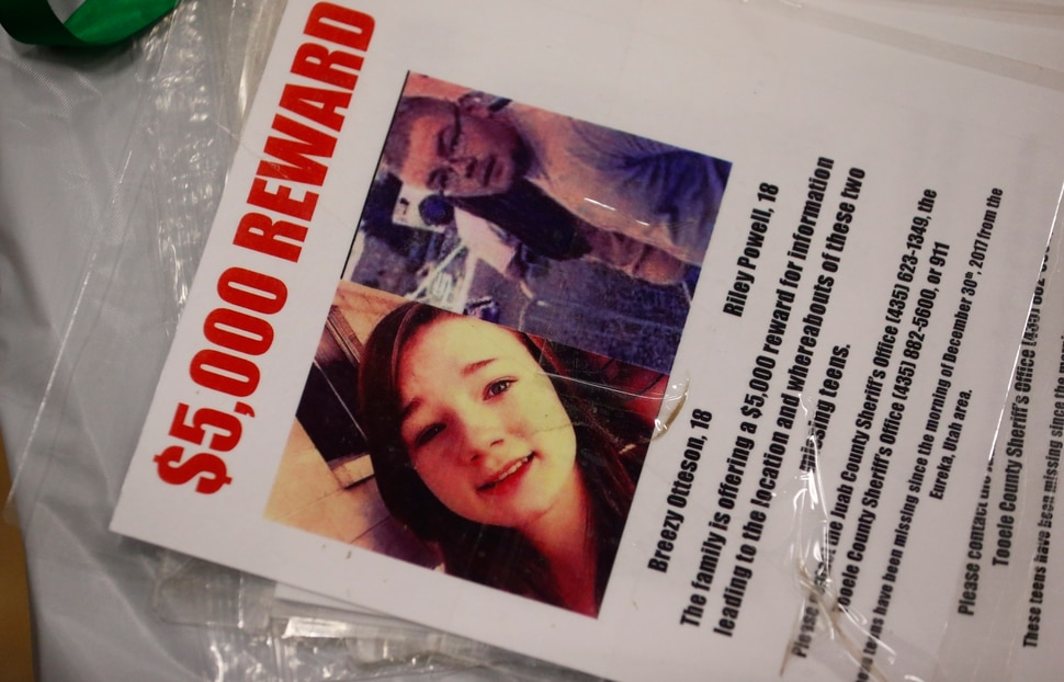 (Rick Bowmer | AP file photo) In this April 7, 2018, file photo, a reward poster is shown at a funeral service for Brelynne Breezy Otteson, 17, and boyfriend Riley Powell, 18, in Eureka, Utah. Prosecutors say an enraged man killed the teenage couple after they visited his girlfriend despite his warning her not to have male visitors. He dumped their bodies in the mine shaft, where they remained for nearly three months before being discovered in March.