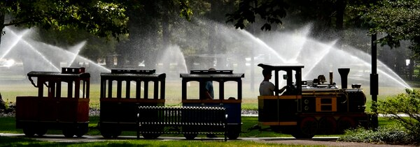 Steve Griffin | The Salt Lake Tribune A kiddie train makes its way through at Liberty Park in Salt Lake City Thursday July 20, 2017.