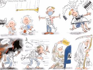 "(Pat Bagley | The Salt Lake Tribune)  This cartoon, titled ""Hell of a Year,"" appears in The Salt Lake Tribune on Tuesday, Dec. 29, 2020."
