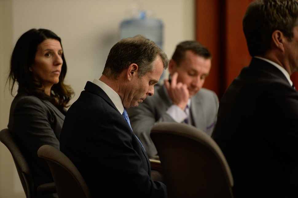 Francisco Kjolseth | The Salt Lake Tribune Former Utah Attorney General John Swallow anticipates the verdict is read during his public-corruption trial in Salt Lake City, Thursday March 2, 2017. Swallow was dismissed of all charges.