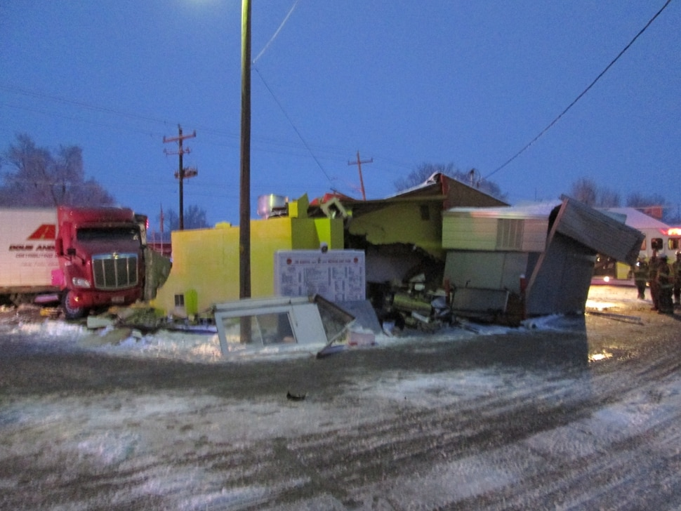 (Photo courtesy Utah Highway Patrol) A semi-trailer truck crashed into a Mexican restaurant Wednesday in Wellington, a town in Carbon County, about 8 miles southeast of Price.