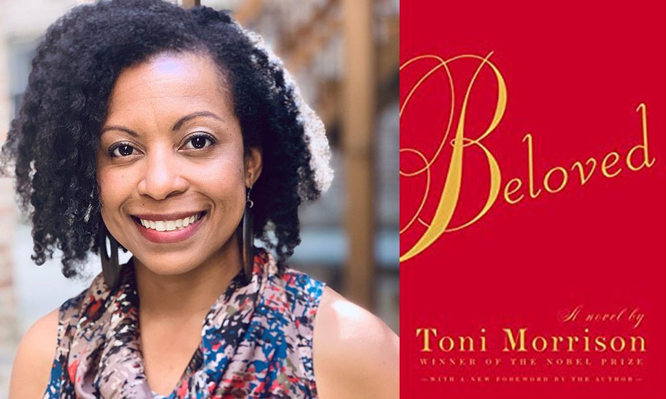 """(Photo courtesy of the University of Utah) Crystal Rudds is an assistant professor of English at the University of Utah. She is shown with a novel she often recommends: Toni Morrison's """"Beloved,"""" which won the 1988 Pulitzer Prize for Fiction."""