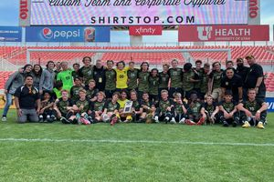 (Alex Vejar   The Salt Lake Tribune) The Wasatch High School boys' soccer team poses for a photo after winning the 5A state championship over the Skyline Eagles on Friday, May 28 at Rio Tinto Stadium.